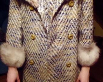Vintage Herringbone Wool Coat & matching Skirt
