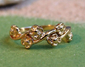 Gold Ring, Gold Flower Ring, Gold Branch Ring, Yellow Gold Ring