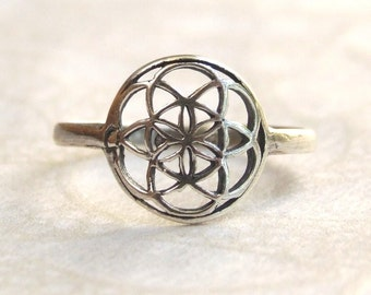 Sterling Silver Ring, Silver Seed of Life Ring,  Silver Flower of Life Ring, Silver Round Ring, Silver Band Ring, Silver Flower Ring