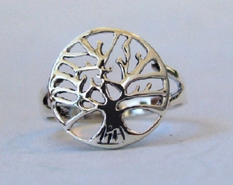 Sterling Silver Ring, Silver Tree of Life Ring, Silver Band Ring, Silver Round Ring