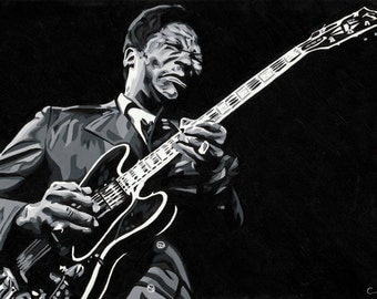 B.B. King Original Painting Print 5 x 7