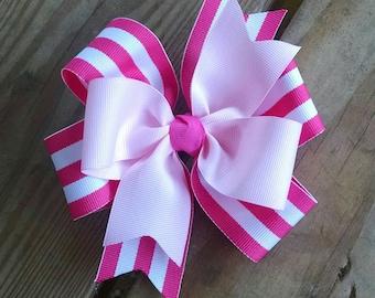 Pink Striped/Light Pink Pinkwheel Hairbow