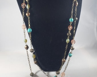 Bronze Chain and Colorful Bead Necklace