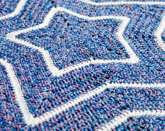 Handmade Crochet Star Shaped Baby Cot/Pram Blanket 95cm x 95cm, Ready for dispatch.