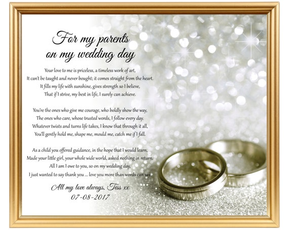 Thank Letter To Parents For Wedding: Wedding Thank You Gift To Parents On My Wedding Day To Mom