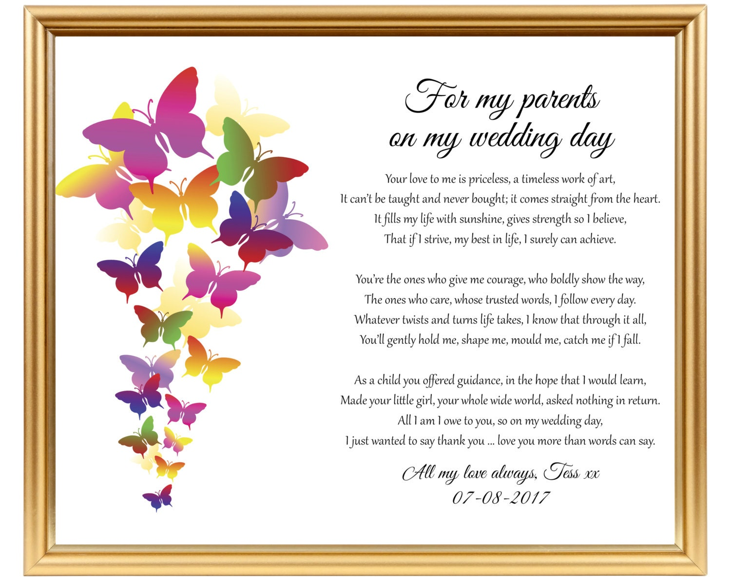 Wedding Gift For Bride Uk : Wedding gift poem for parents from Bride To Dad from Bride