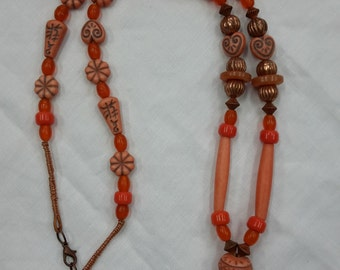 """Necklace beaded """"orange agate donut"""" glass lucite copper leather cord"""