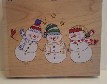 Dena Designs All Night Media Snowmen Woodmount Stamp