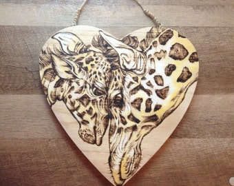 Mother Giraffe and Baby Calf Woodburned Heart Plaque