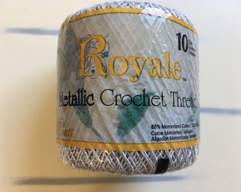 Metallic Crochet Thread, Royale Metallic Crochet Thread, Silver Crochet Thread, Mercerized Cotton,  Silver Cotton Thread, 1 Ball, Size 10