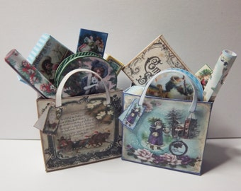 Dolls house miniature Victorian Christmas Filled bags kit