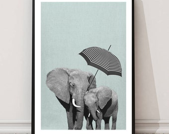 Elephant Print, Childrens wall art, Elephant art, Animal print, nursery Elephant print, wall art decor, digital print, printable art