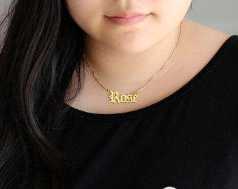 Gold Old English Name Necklace, Custom Nameplate Pendent, Personalized Handmade Jewelry, Bridesmaid Gift, Mother's Gift