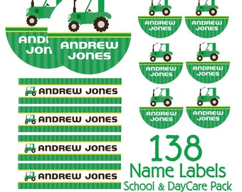 Green Tractor Kids School Labels Starter Pack - Day Care Waterproof Labels, Kids Name Labels