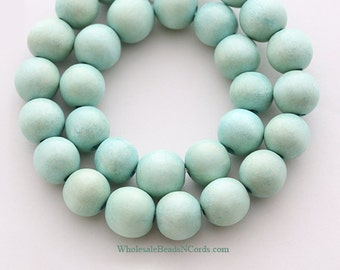 15 inch Strand 12mm Round WOOD Beads - MINT GREEN - Natural - Wholesale Wooden Beads - Instant Ship - Usa Seller 0554E