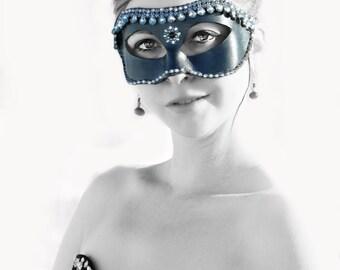Costume-Jeweled Leather mask