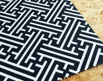 Korla fabric- Black Fabric- Geometric Fabric- Moroccan style - Eastern- Black and white- Furnishing Fabric- Upholstery Fabric- Cotton