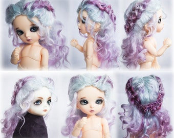 Curly with braids angora mohair wig for  bjd