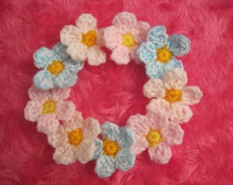 Free shipping, flower motif, flower applique, 9flower motives,crochet flower,crochet flower motif, handmade supply,crochet pink flower