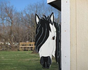 Horse Head Barn Peeker Yard Sign