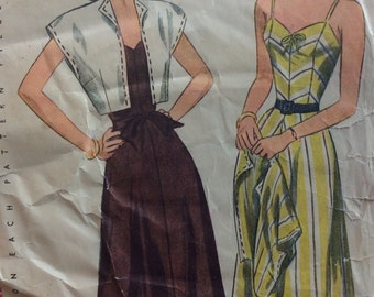 Simplicity 1975 misses one-piece sun dress & bolero size 14 bust 32 vintage 1940's sewing pattern