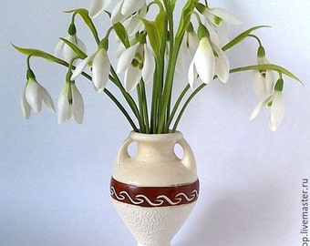 Snowdrops-cold porcelain flowers-spring flowers-gift-clay flowers-floral arragement