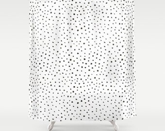 Shower Curtain Polkadot Shower Curtain Black and White Shower Curtain Dalmatian Print Bathroom Decor Polkadot Shower Curtain