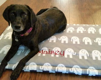 Dog Mat for Training * Medium * Mat for Car * Dogbed Crate * Navy Grey * Reversible * Elephant * Lilly Inspired * Quatrefoil * TSD