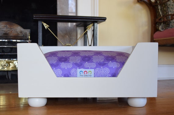 Wooden dog bed small designer wood dog bed by threespoileddogs - Designer pet beds small dogs ...