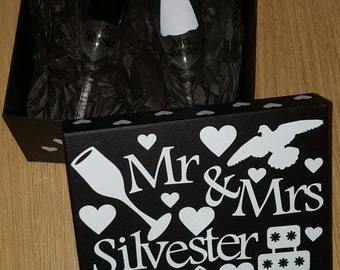Personalised Wedding Gift Box Bride and Groom Set