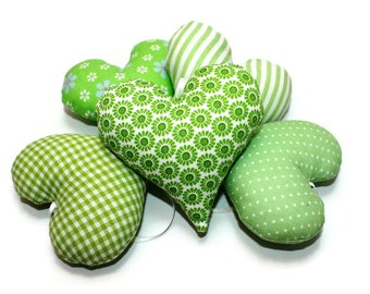 Fabric heart green white 5 set heart sewn to attach 9 cm checkered striped dotted fabric heart Eisbaerchenmama