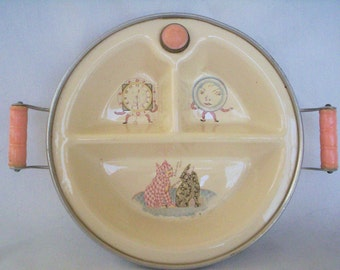 Vintage Baby Food Warming Dish, 1940s, Porcelain and Metal, Excello