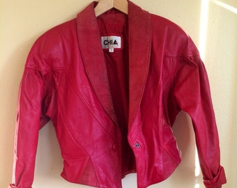 Red Hot leather moto jacket
