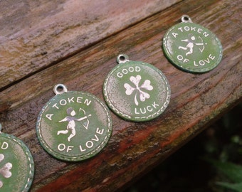 Aged Brass Love and Luck Charm pendant with hand antiqued green patina finish Rustic UK Shop