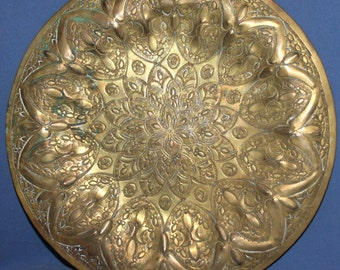 Vintage Floral Brass Wall Decor Plaque