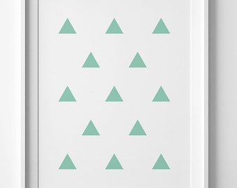 Mint printable poster, triangle pattern, mint green print, downloadable print, triangle poster, digital print, triangle print, mint wall art