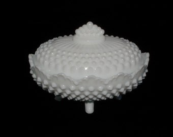 Fenton Candy Dish, 4-legged white hobnail milk glass
