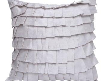 Silver Grey Ruffles Pillow Cover Ruffle Euro Sham Covers Silver Grey Textured Pillow 14x14 16x16 18x18 20x20 22x22 24x24 26x26