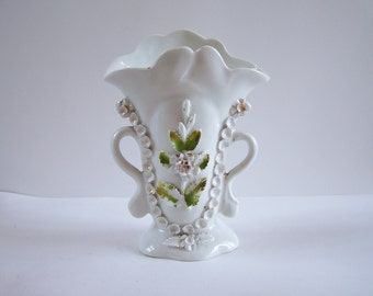 Wedding vase bride vase raised leaves and flowers white and gold porcelain vase vintage  Made in France