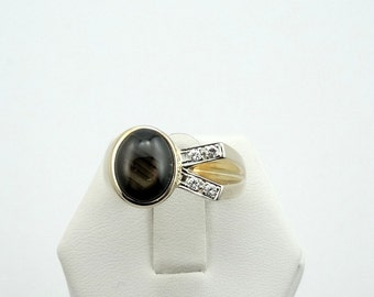 Vintage Avant Garde Black Star Sapphire and Diamonds 14K Gold Ring #BLKSTAR-GR4