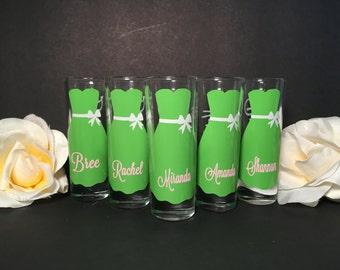 Wedding Glasses, Personalized Bachelorette  Shot Glasses, Wedding Party Glasses, bridesmaid gifts, Engagement,Gold Wedding
