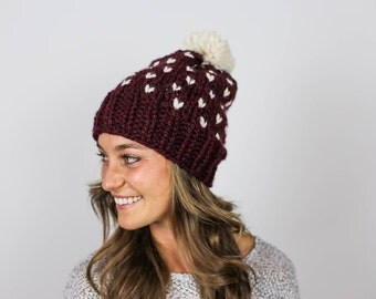 Chunky Knit Faire Isle Winter Hat | Merlot and Cream