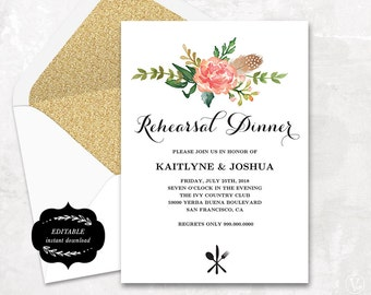 Printable Rehearsal Dinner Invitation Card Template, Floral Boho Rehearsal Dinner Card, Instant DOWNLOAD - EDITABLE Text - 5x7, RD005