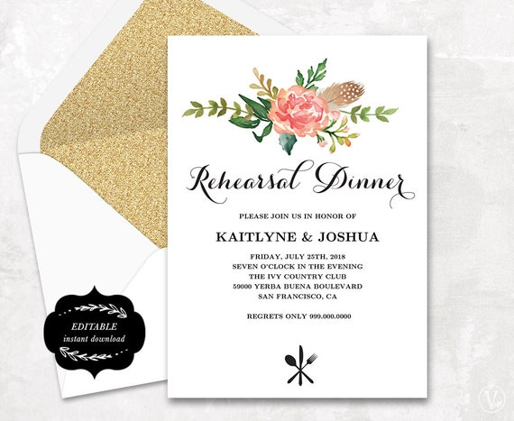 Wedding Welcome Dinner Invitation Wording: Printable Rehearsal Dinner Invitation Card Template Floral