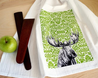 Moose Dish Towel, Screen Printed Flour Sack Towel, Tea Towel