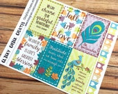 FALL LEAVES & Peacock - INSPIRATIONAL Quote Planner Stickers - jewel tones - perfect fit for Inkwell Press Planner - Bound {IWP1102}