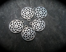 Round Flower Charms Package of 5 charms Perfect for Adjustable Bangle Bracelets or Earring Accents