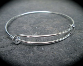 CLEARANCE Bright silver Adjustable wire bangle bracelet blanks with double loops and shiny silver finish 2 1/2""