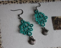 Green Hand tatted Lace Earrings with Shell Charm