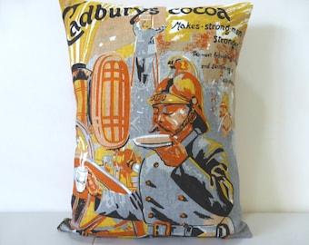 Cadbury's Cocoa Cushion Cover Fireman Vintage Tea Towel Repurposed Upcycled MFB Metropolitan Fire Brigade Advertising Gift For Him